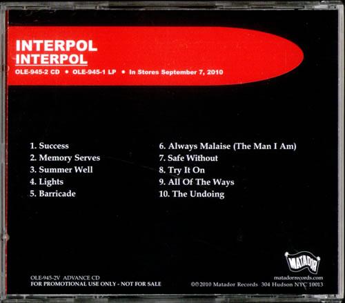 Interpol Turn On The Bright Lights 10th Anniversary Rarity