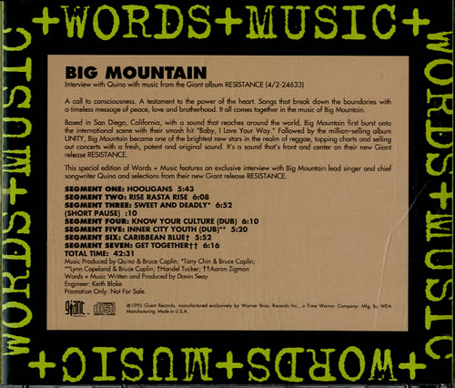 Click to view product details and reviews for Big Mountain Words Music 1995 Usa Cd Album Pro Cd 7907.