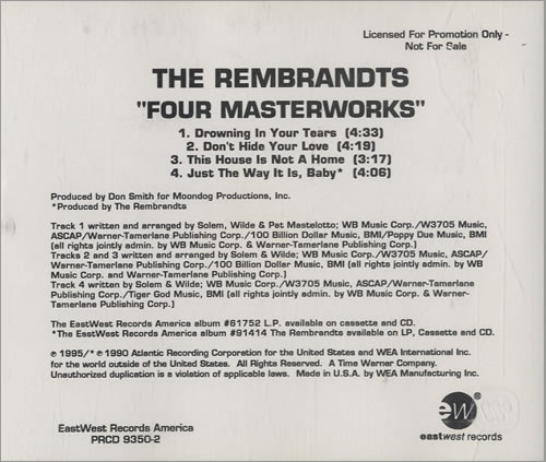 Click to view product details and reviews for The Rembrandts Four Masterworks 1995 Usa Cd Single Prcd 9350.