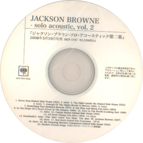 Jackson Browne Solo Acoustic Vol 2 2008 Japanese Cd R Acetate Cd