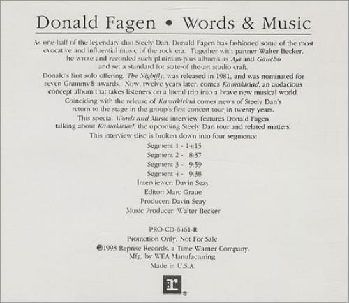 Donald Fagen Words Music 1993 Usa Cd Album Pro Cd 6461 R