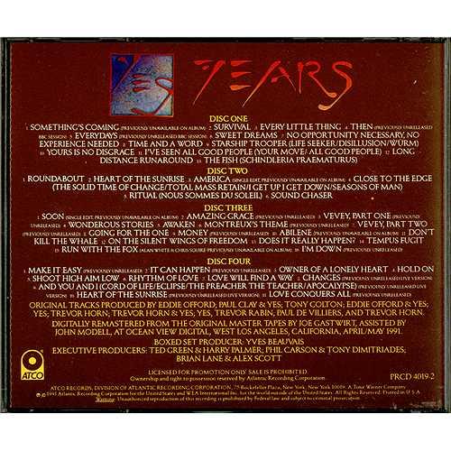 Yes Yesyears Us Promo 4 Cd Album Set 156168