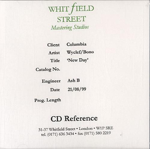 Bono New Day  Hip Hop Clean & Pop Main 1999 UK CDR acetate CD ACETATE
