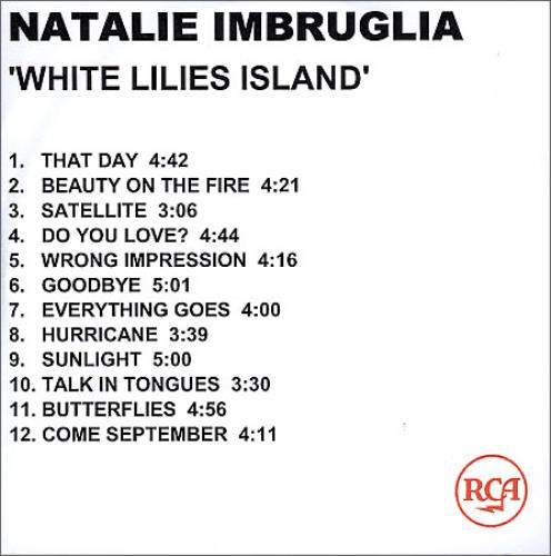 Natalie Imbruglia White Lilies Island 2001 UK CDR acetate CDR ACETATE
