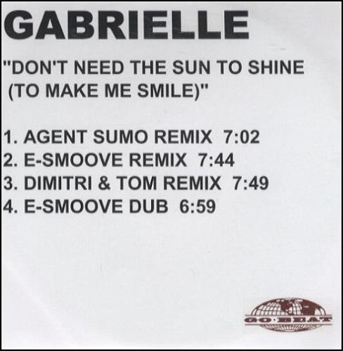 Gabrielle Dont Need The Sun To Shine  4 track 2001 UK CDR acetate CDR ACETATE