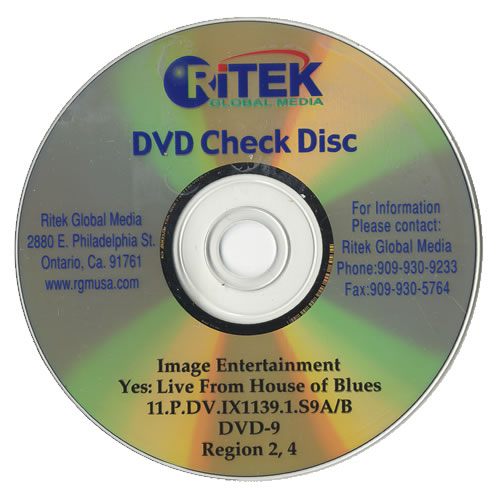 Yes Live From House Of Blues 1999 USA promo DVDR DVDR