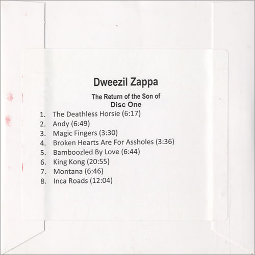 Dweezil Zappa Return Of The Son Of... 2010 USA CDR acetate CDR ACETATE