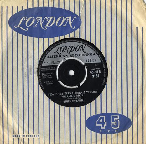 Brian Hyland Itsy Bitsy Teenie Weenie Yellow Polkadot Bikini 1960 UK 7 vinyl 45HLR9161