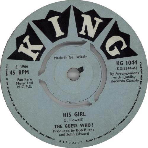 The Guess Who His Girl  VG 1966 UK 7 vinyl KG1044