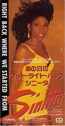Sinitta Right Back Where We Started 1990 Japanese 3 CD single VIDP1