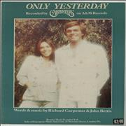 Carpenters Only Yesterday sheet music UNITED KINGDOM