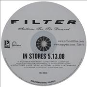 Filter Anthems For The Damned CD album USA