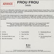 Frou Frou Details CD album USA