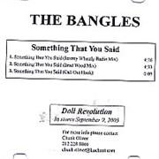 The Bangles Something That You Said CD-R acetate USA