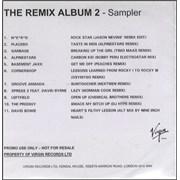 Various-Dance The Remix Album 2 Sampler CD-R acetate UNITED KINGDOM