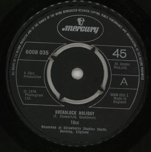 "10cc Dreadlock Holiday - 4Pr - P/s 7"" vinyl single (7 inch record) UK 10C07DR760717"