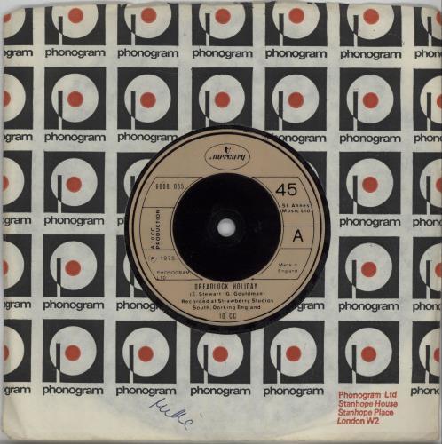 "10cc Dreadlock Holiday - Inj 7"" vinyl single (7 inch record) UK 10C07DR672966"