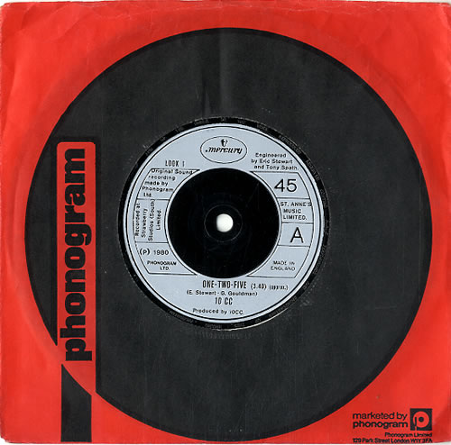 """10cc One-Two-Five 7"""" vinyl single (7 inch record) UK 10C07ON621421"""