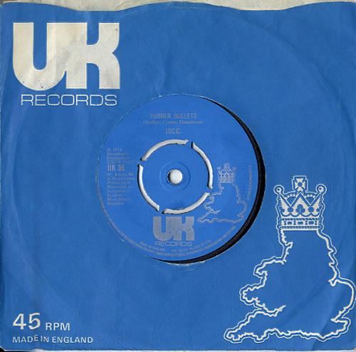 "10cc Rubber Bullets - 4pr - Silver Text 7"" vinyl single (7 inch record) UK 10C07RU633089"