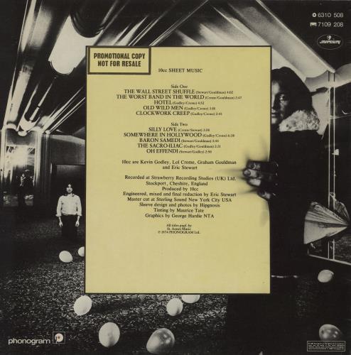 10cc Sheet Music - Gold Promo vinyl LP album (LP record) UK 10CLPSH761710