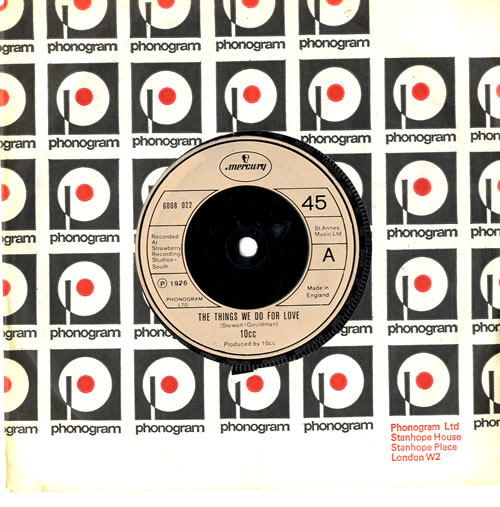 """10cc The Things We Do For Love 7"""" vinyl single (7 inch record) UK 10C07TH129860"""