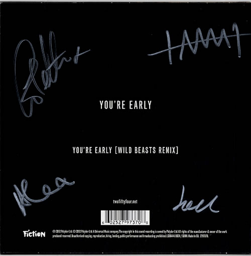 """2:54 (Two Fifty Four) You're Early - Fully Autographed 7"""" vinyl single (7 inch record) UK 2A-07YO620968"""