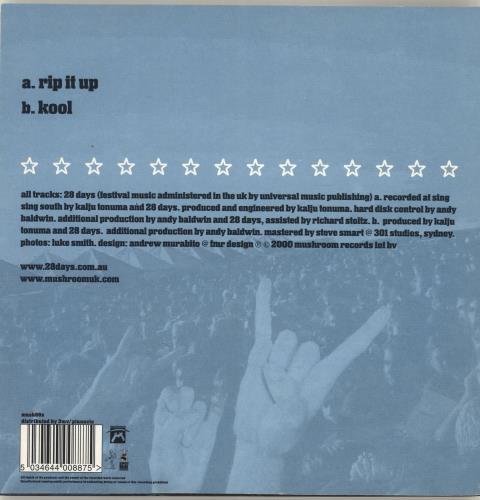 "28 Days Rip It Up 7"" vinyl single (7 inch record) UK 28B07RI689382"