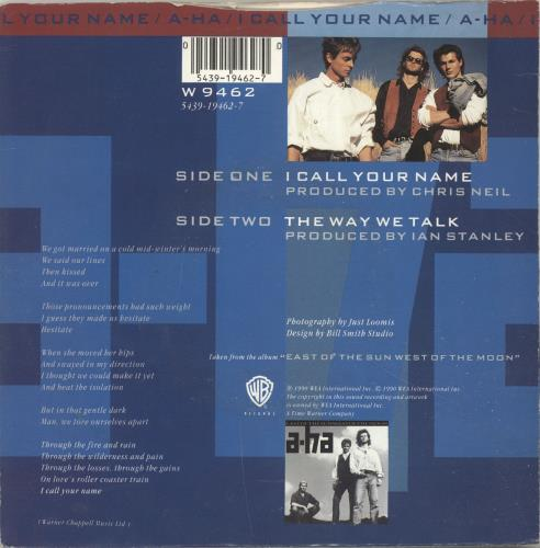 "A-Ha I Call Your Name 7"" vinyl single (7 inch record) UK AHA07IC38385"