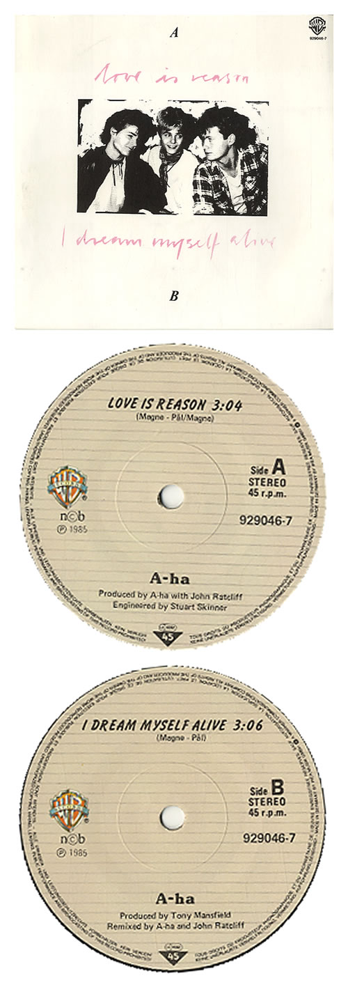 "A-Ha Love Is Reason - 1st issue 7"" vinyl single (7 inch record) Norwegian AHA07LO185626"