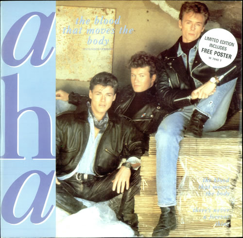 """A-Ha The Blood That Moves The Body + Poster 12"""" vinyl single (12 inch record / Maxi-single) UK AHA12TH06413"""