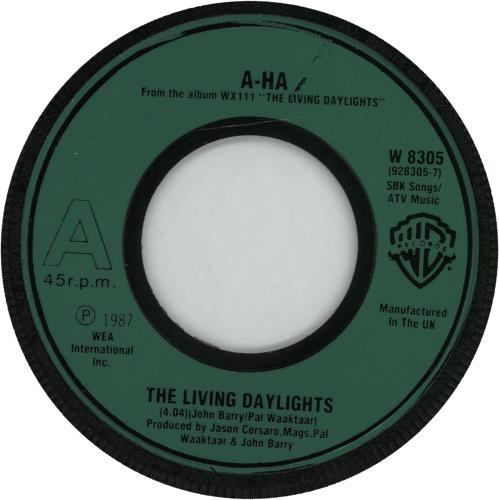 "A-Ha The Living Daylights - Green Wide Centre 7"" vinyl single (7 inch record) UK AHA07TH16228"