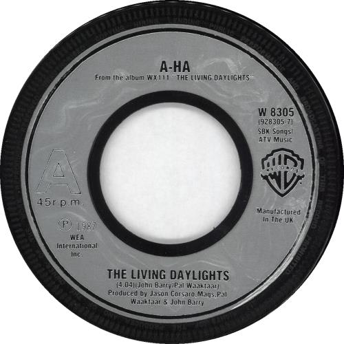 "A-Ha The Living Daylights - Silver Inj Wide Centre 7"" vinyl single (7 inch record) UK AHA07TH710495"