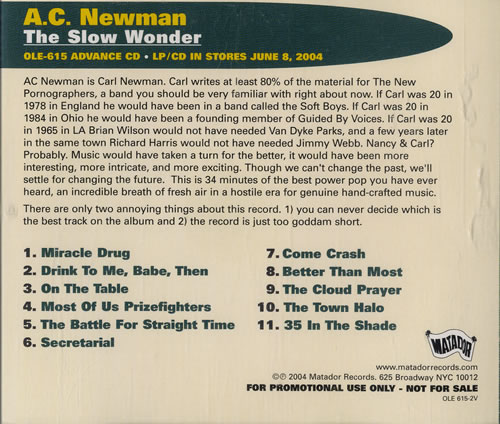 "A.C Newman The Slow Wonder CD single (CD5 / 5"") US AC7C5TH464651"