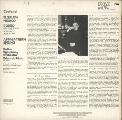 Aaron Copland El Salón México - Rodeo - Appalachian Spring vinyl LP album (LP record) UK APJLPEL721058