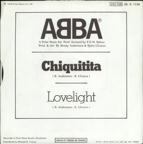 "Abba Chiquitita - EX 7"" vinyl single (7 inch record) French ABB07CH769920"