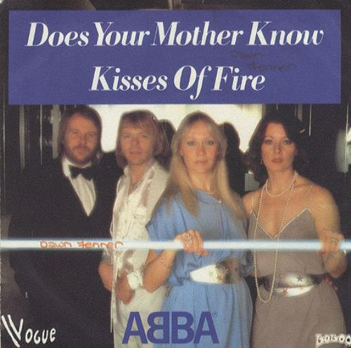 """Abba Does Your Mother Know - Writing on sleeve 7"""" vinyl single (7 inch record) French ABB07DO78949"""