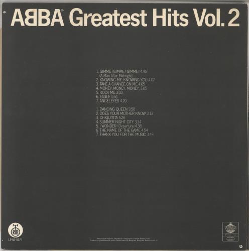 Abba Greatest Hits Vol. 2 vinyl LP album (LP record) Yugoslavian ABBLPGR572361