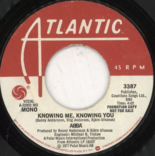 """Abba Knowing Me, Knowing You - Mono/Stereo Promo 7"""" vinyl single (7 inch record) US ABB07KN741289"""