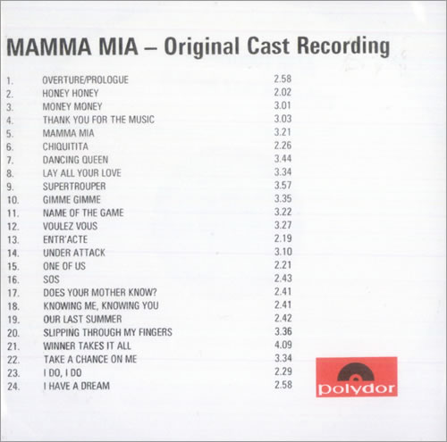 Abba Mamma Mia - original cast recording CD-R acetate UK ABBCRMA149870