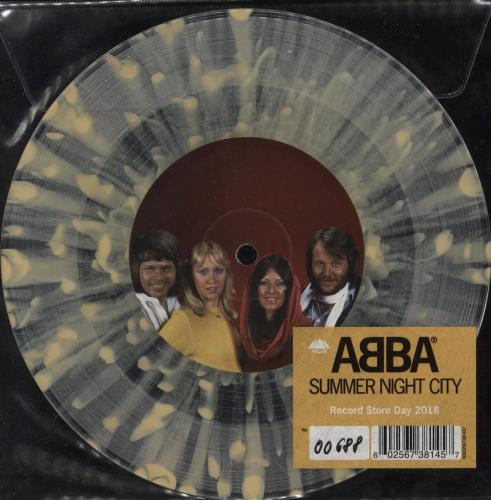 "Abba Summer Night City - RSD 18 - Yellow/Clear Splatter Vinyl 7"" vinyl single (7 inch record) UK ABB07SU730275"