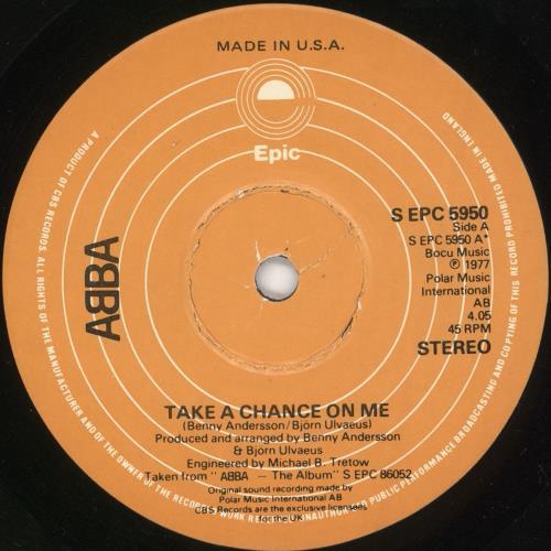 """Abba Take A Chance On Me 7"""" vinyl single (7 inch record) US ABB07TA749704"""