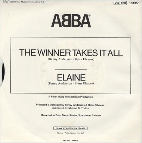 """Abba The Winner Takes It All 7"""" vinyl single (7 inch record) French ABB07TH48247"""