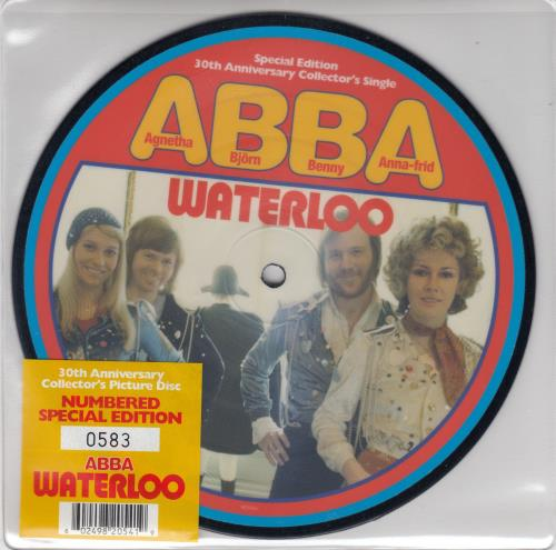 """Abba Waterloo - Special Edition 30th Anniversary Collector's Single 7"""" vinyl picture disc 7 inch picture disc single UK ABB7PWA291270"""