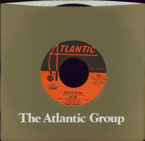 """AC/DC Back In Black 7"""" vinyl single (7 inch record) US ACD07BA770175"""