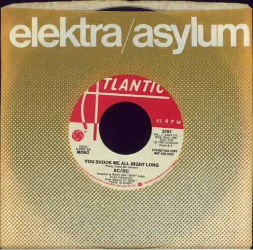 """AC/DC You Shook Me All Night Long 7"""" vinyl single (7 inch record) US ACD07YO671594"""