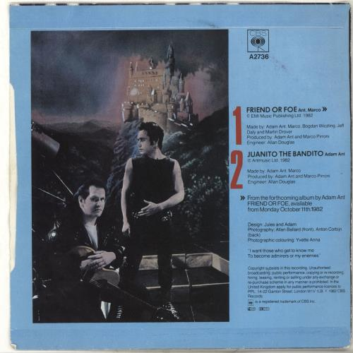 "Adam Ant Friend Or Foe - p/s 7"" vinyl single (7 inch record) UK A~A07FR701106"