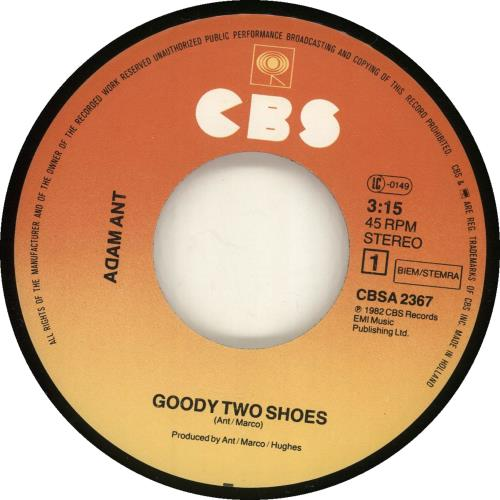 """Adam Ant Goody Two Shoes 7"""" vinyl single (7 inch record) Dutch A~A07GO702416"""