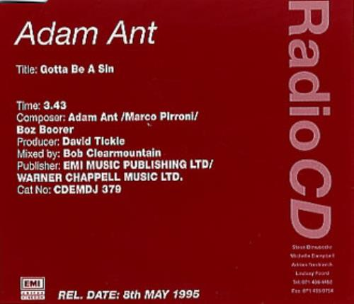 """Adam Ant Gotta Be A Sin CD single (CD5 / 5"""") UK A~AC5GO45032"""