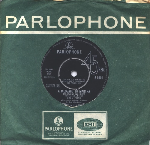 "Adam Faith A Message To Martha 7"" vinyl single (7 inch record) UK ADF07AM294758"