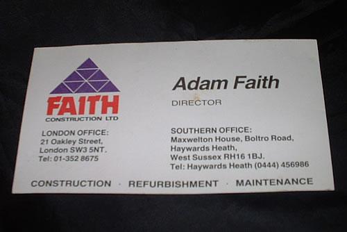 Adam Faith Faith Construction Business Card Uk Memorabilia